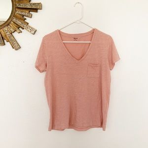 Madewell peach basic v neck pocket tee size small
